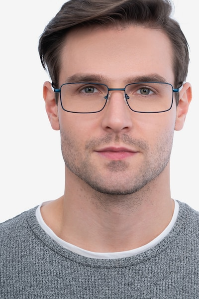 Arco Navy Metal Eyeglass Frames for Men from EyeBuyDirect, Front View