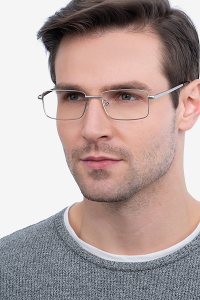 Arco Silver Metal Eyeglass Frames for Men from EyeBuyDirect, Front View