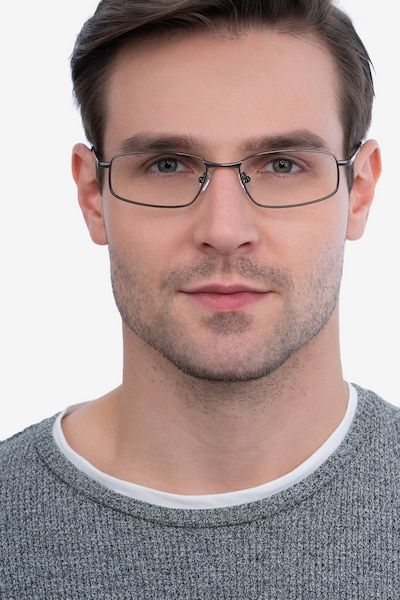 Destined Gunmetal Metal Eyeglass Frames for Men from EyeBuyDirect, Front View