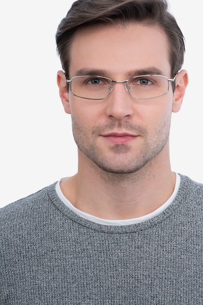 Destined Silver Metal Eyeglass Frames for Men from EyeBuyDirect, Front View