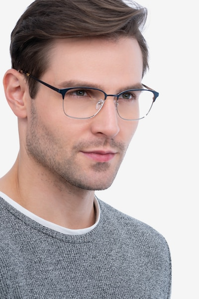 Chambery Blue Metal Eyeglass Frames for Men from EyeBuyDirect, Front View