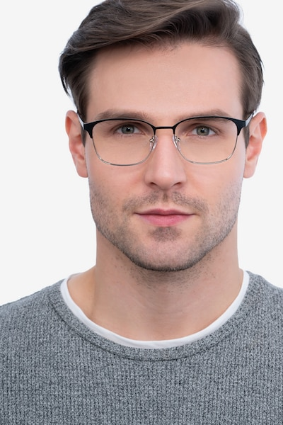 Chambery Black Metal Eyeglass Frames for Men from EyeBuyDirect, Front View