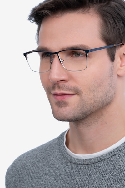 Edito Navy Metal Eyeglass Frames for Men from EyeBuyDirect, Front View