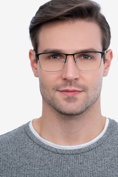 Edito Black Metal Eyeglass Frames for Men from EyeBuyDirect, Front View