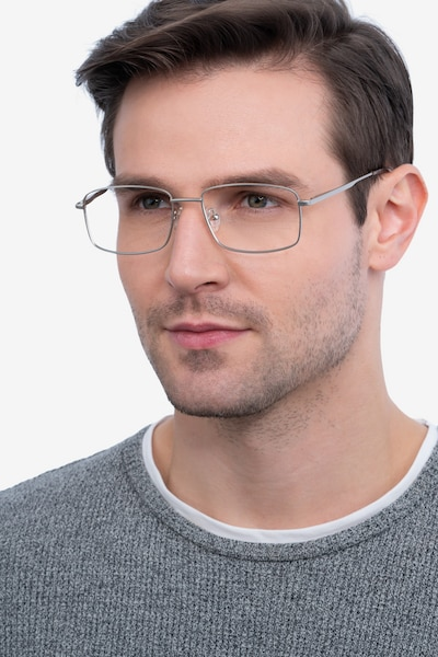 Onex Silver Metal Eyeglass Frames for Men from EyeBuyDirect, Front View