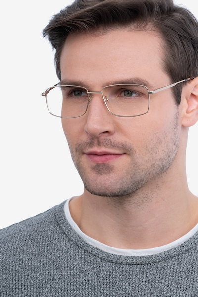 Onex Gold Metal Eyeglass Frames for Men from EyeBuyDirect, Front View