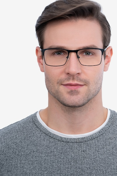 Vigo Black Metal Eyeglass Frames for Men from EyeBuyDirect, Front View