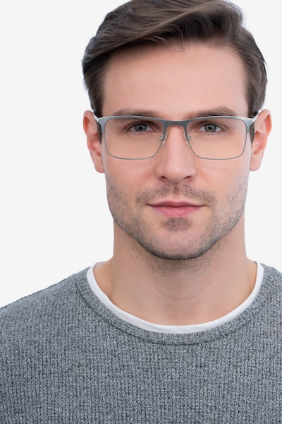 Vigo Silver Metal Eyeglass Frames for Men from EyeBuyDirect, Front View