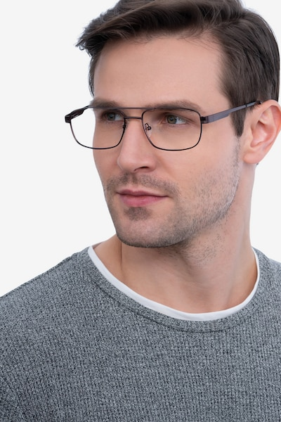 Stan Coffee Metal Eyeglass Frames for Men from EyeBuyDirect, Front View