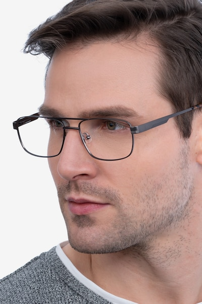 Stan Gunmetal Metal Eyeglass Frames for Men from EyeBuyDirect