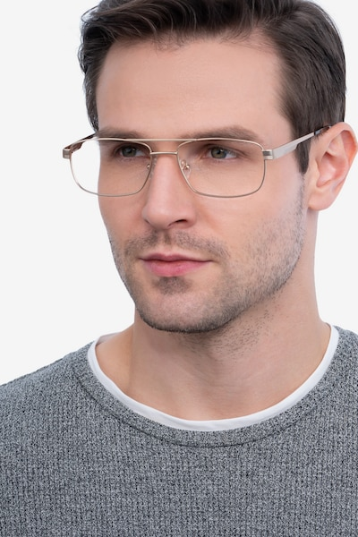 Stan Gold Metal Eyeglass Frames for Men from EyeBuyDirect, Front View