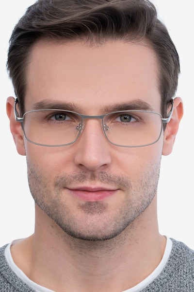 Madon Silver Metal Eyeglass Frames for Men from EyeBuyDirect, Front View