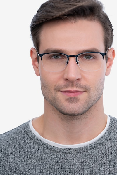 Vimy Blue Metal Eyeglass Frames for Men from EyeBuyDirect