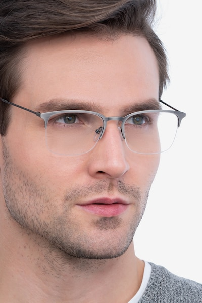 Vimy Gunmetal Metal Eyeglass Frames for Men from EyeBuyDirect, Front View