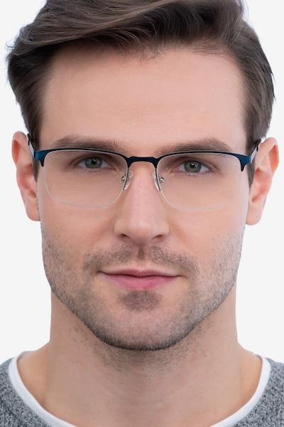 Valery Blue Metal Eyeglass Frames for Men from EyeBuyDirect
