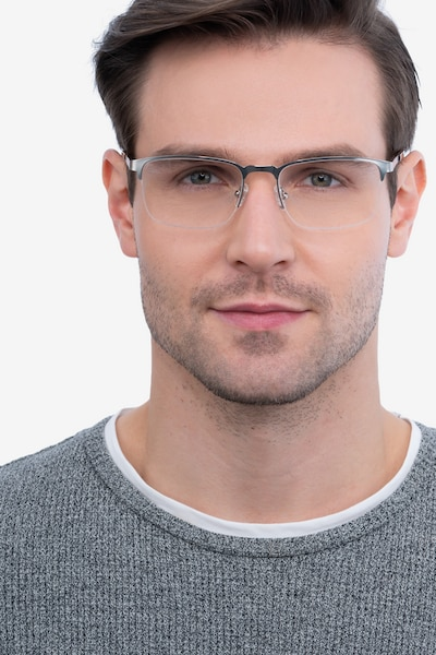 Valery Silver Metal Eyeglass Frames for Men from EyeBuyDirect, Front View