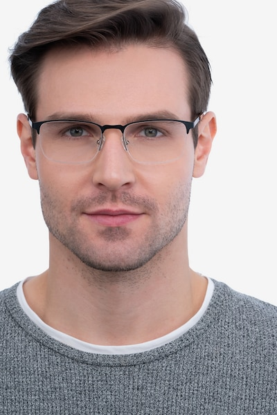 Valery Black Metal Eyeglass Frames for Men from EyeBuyDirect, Front View
