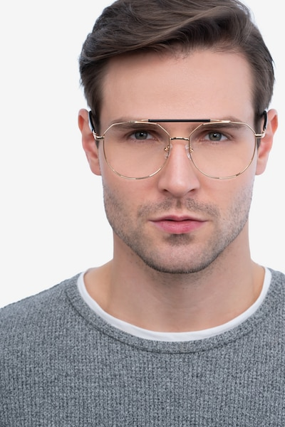 Coxon Golden Black Metal Eyeglass Frames for Men from EyeBuyDirect, Front View
