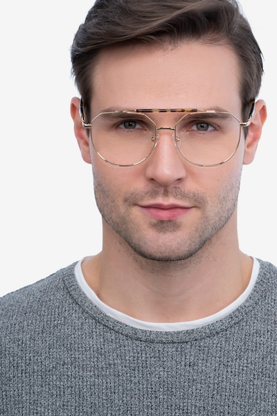 Coxon Golden Tortoise Metal Eyeglass Frames for Men from EyeBuyDirect