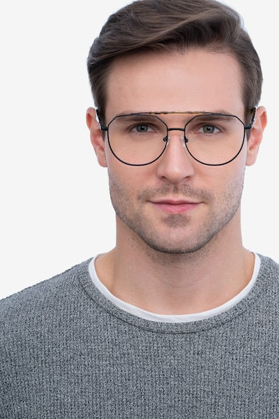 Coxon Black Tortoise Metal Eyeglass Frames for Men from EyeBuyDirect, Front View