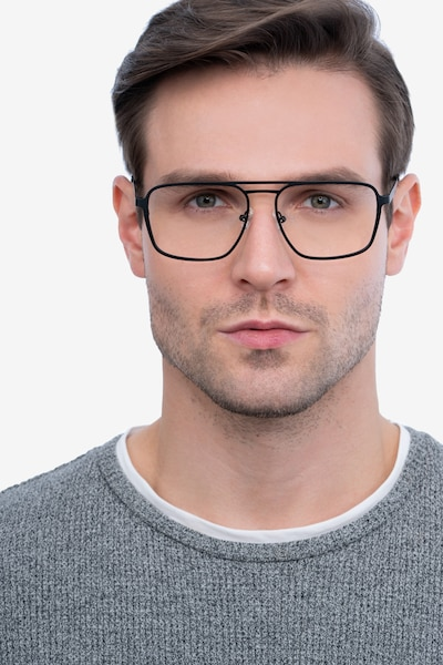 Gallo Black Metal Eyeglass Frames for Men from EyeBuyDirect, Front View
