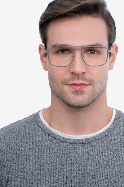 Gallo Silver Metal Eyeglass Frames for Men from EyeBuyDirect, Front View