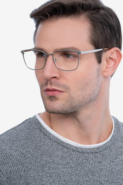 Strategy Silver Metal Eyeglass Frames for Men from EyeBuyDirect, Front View