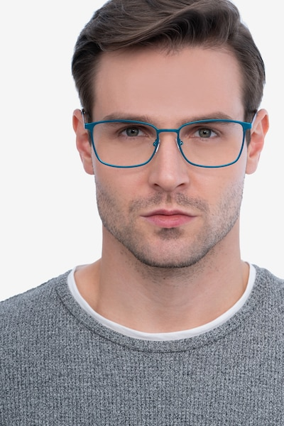 Strategy Blue Metal Eyeglass Frames for Men from EyeBuyDirect, Front View