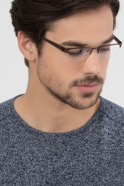 Beckett Coffee Metal Eyeglass Frames for Men from EyeBuyDirect