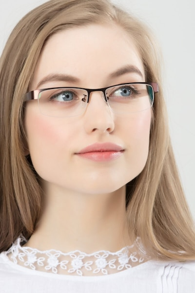 Beckett Coffee Metal Eyeglass Frames for Women from EyeBuyDirect, Front View