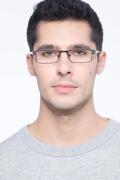 Bennett Gunmetal Métal Montures de Lunettes pour Hommes d'EyeBuyDirect, Vue de Face