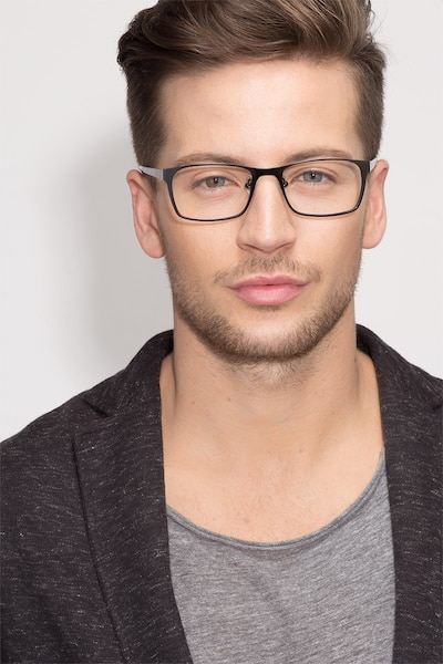 Dublin Matte Black Metal Eyeglass Frames for Men from EyeBuyDirect, Front View