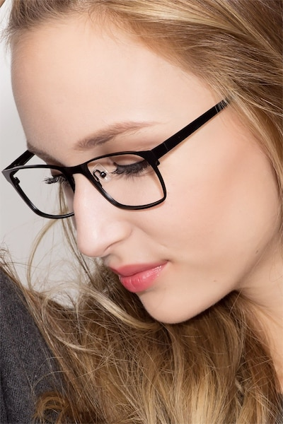 Dublin Matte Black Metal Eyeglass Frames for Women from EyeBuyDirect