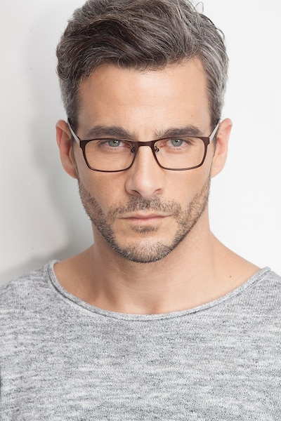 Dublin Coffee Metal Eyeglass Frames for Men from EyeBuyDirect, Front View
