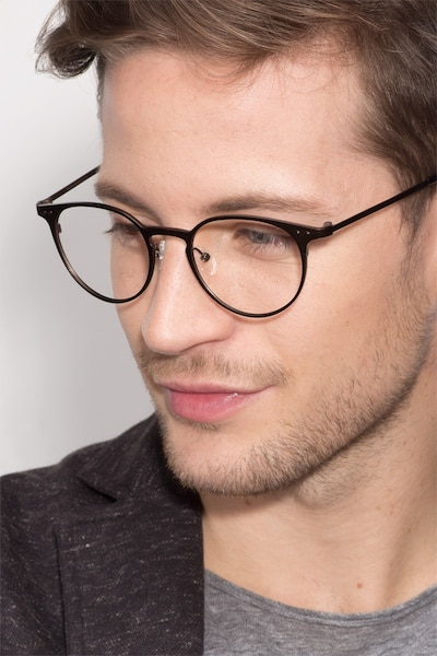 Thin Line Coffee Metal Eyeglass Frames for Men from EyeBuyDirect