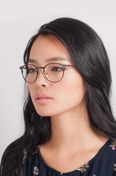 Thin Line Coffee Metal Eyeglass Frames for Women from EyeBuyDirect