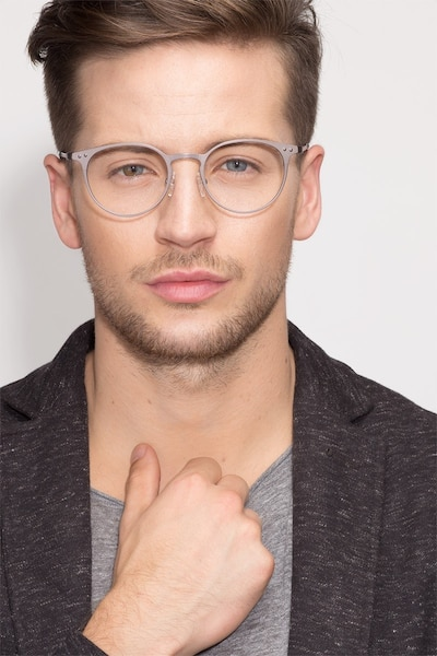 Thin Line Gunmetal Metal Eyeglass Frames for Men from EyeBuyDirect, Front View