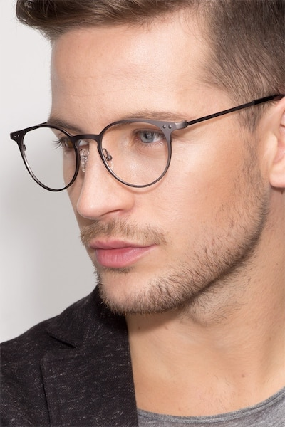 Thin Line Gunmetal Metal Eyeglass Frames for Men from EyeBuyDirect