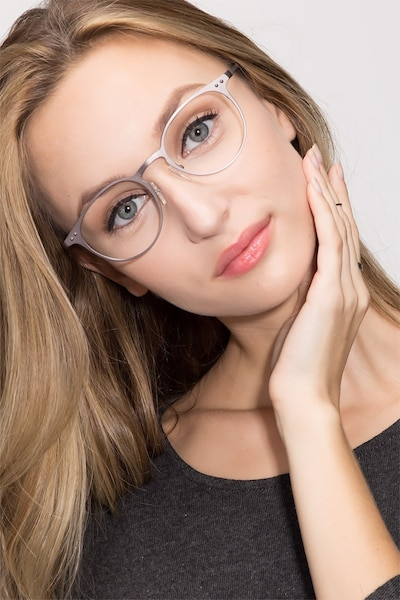 Thin Line Gunmetal Metal Eyeglass Frames for Women from EyeBuyDirect, Front View