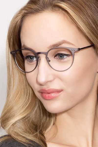 Thin Line Gunmetal Metal Eyeglass Frames for Women from EyeBuyDirect