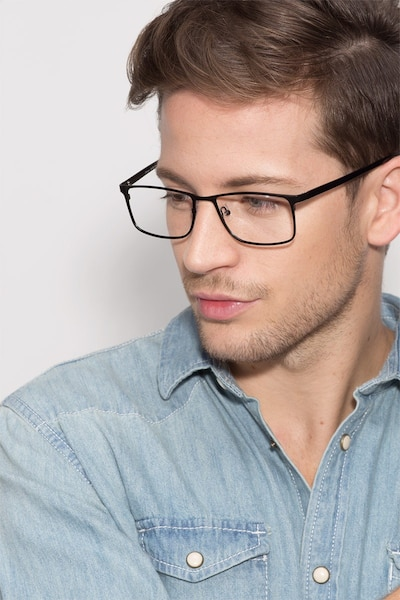 Clinton  Black  Metal Eyeglass Frames for Men from EyeBuyDirect, Front View