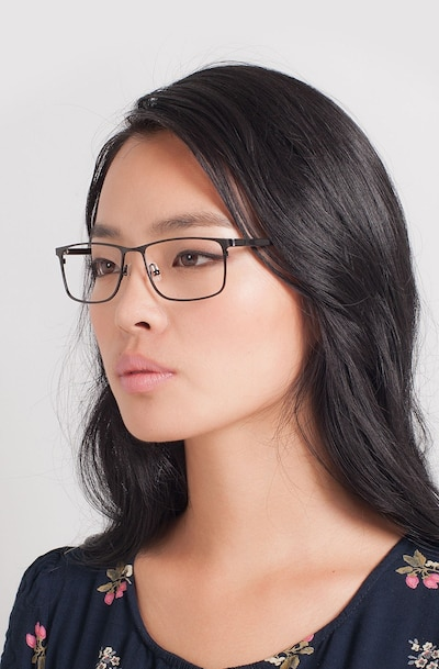 Clinton  Black  Metal Eyeglass Frames for Women from EyeBuyDirect