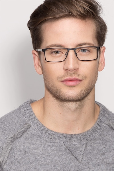 Cristian Black Metal Eyeglass Frames for Men from EyeBuyDirect, Front View