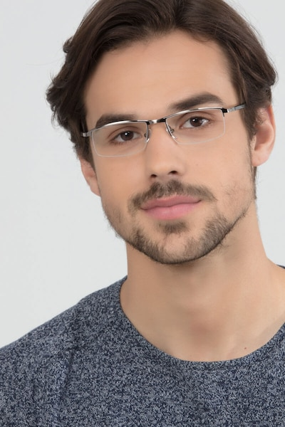 Mel  Gunmetal  Metal Eyeglass Frames for Men from EyeBuyDirect, Front View