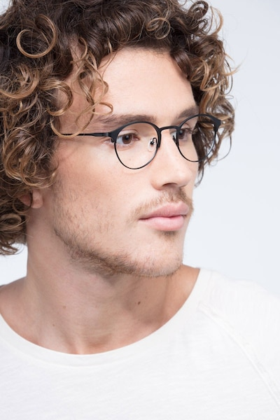 Little Time Black Metal Eyeglass Frames for Men from EyeBuyDirect, Front View