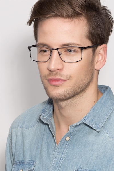 Clinton Gunmetal Metal Eyeglass Frames for Men from EyeBuyDirect, Front View