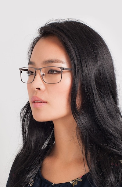Clinton Gunmetal Metal Eyeglass Frames for Women from EyeBuyDirect