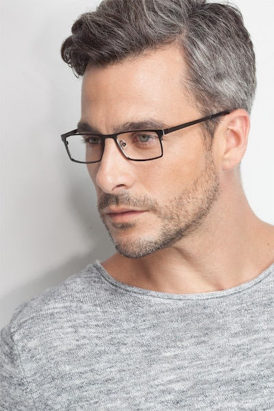 Cristian Gunmetal/Black Metal Eyeglass Frames for Men from EyeBuyDirect, Front View