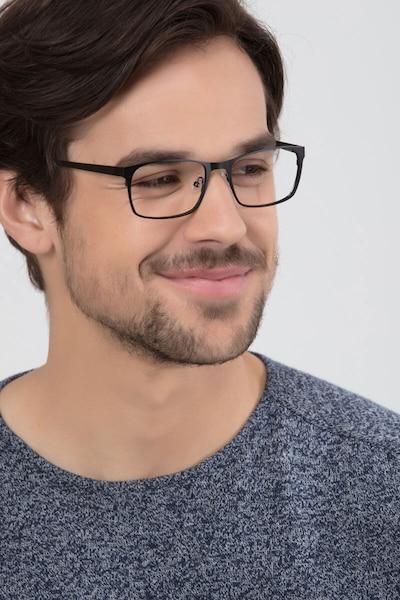 Dublin Matte Black Metal Eyeglass Frames for Men from EyeBuyDirect, Front View