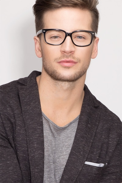 John Black Acetate Eyeglass Frames for Men from EyeBuyDirect, Front View